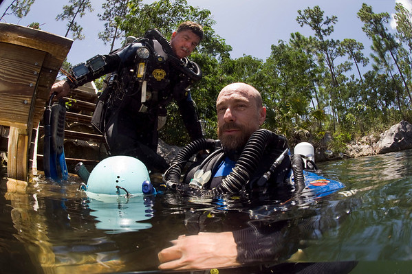 Brian Kakuk and Dr. Kenny Broad prepare to dive in Sawmill Sink during a National Geographic project in Abaco.