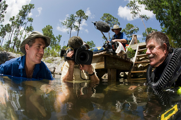 James Barrat, Gordy Waterman, David Srtayer and Brian Kakuk film a segment for PBS/NOVA Extreme Cave Diving film.