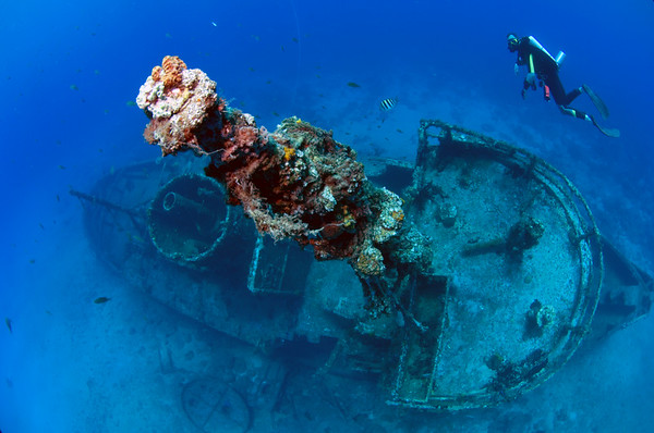 A rebreather diver floats without making bubbles over the wreck of ElLimon in La Caletta National  Marine Park near Santo Domingo, Dominican Republic.