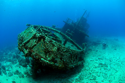 A closed circuit rebreather diver parks himself beside the wreck of El Limon in La Caletta National Marine Park near Santo Domingo, Dominican Republic. Photo: Jill Heinerth